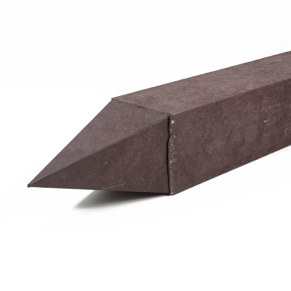Reinforced square post with a moulded point Brown 90mm x 90mm x 2m