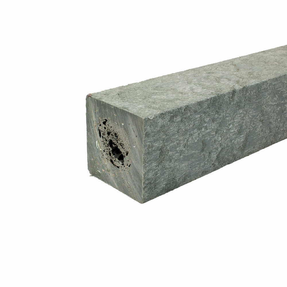 Square post with a moulded point Grey 90mm x 90mm x 1.5m
