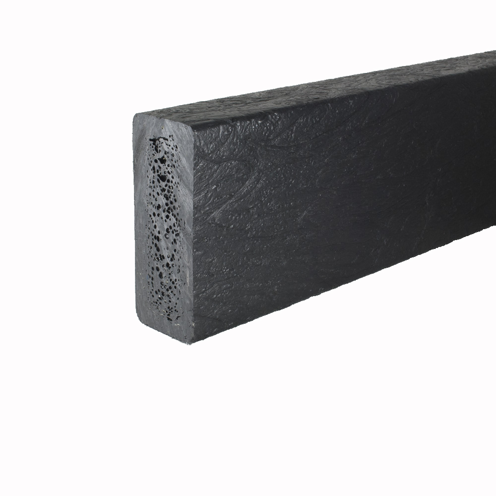 Recycled plastic plank Black 50mm x 125mm x 3m