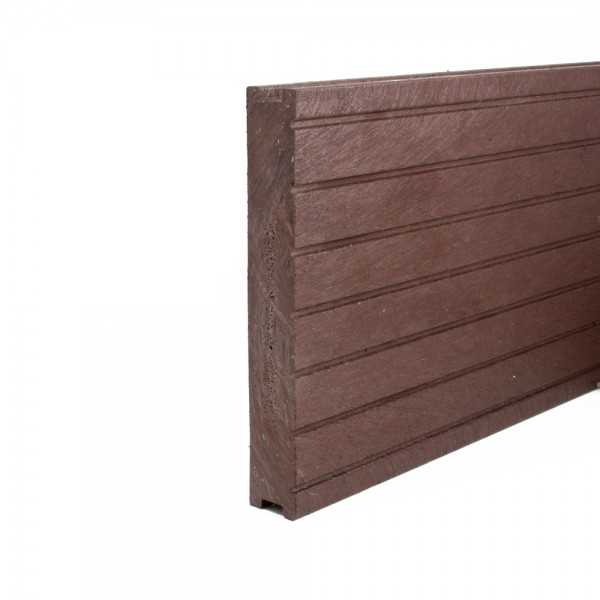 Plastic Decking Boards - grooved Brown 28mm x 195mm x 2500