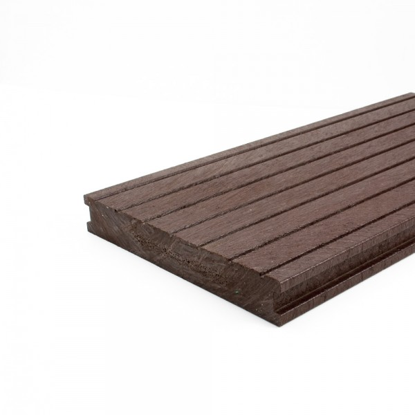 Plastic Decking Boards - grooved Brown 28mm x 195mm x 3000