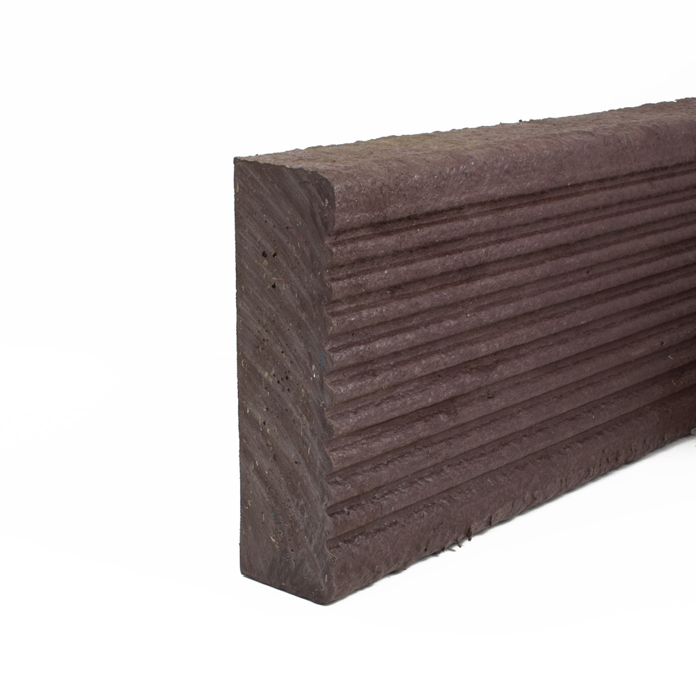 Plastic Decking Boards - grooved Brown 48mm x 165mm x 1000