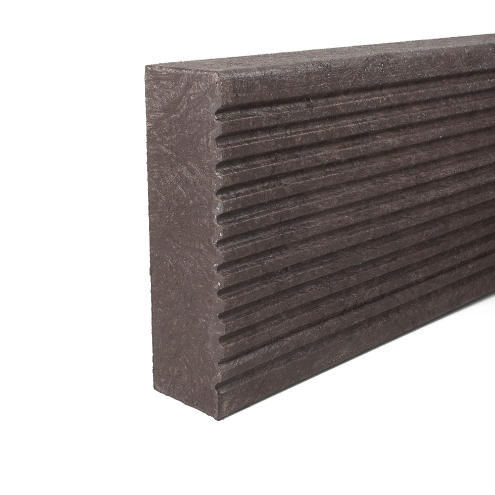 Plastic Decking Boards - grooved Brown 60mm x 197mm x 3000