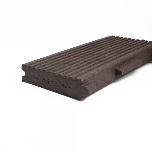 Plastic Decking Boards - grooved T & G Brown 40mm x 170mm x 2500