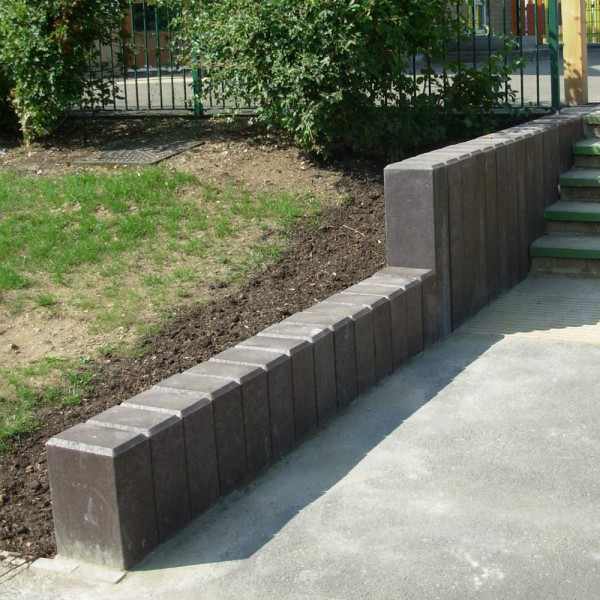 Square Hollow Palisade Post with Chamfered Top Brown 160mm x 240mm x 600mm