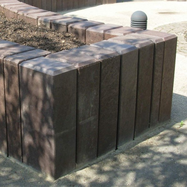 Square Hollow Palisade Post with Chamfered Top Brown 160mm x 240mm x 1250mm
