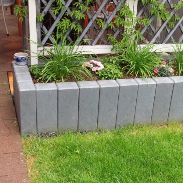 Square Hollow Palisade Post with Chamfered Top Grey 160mm x 240mm x 600mm