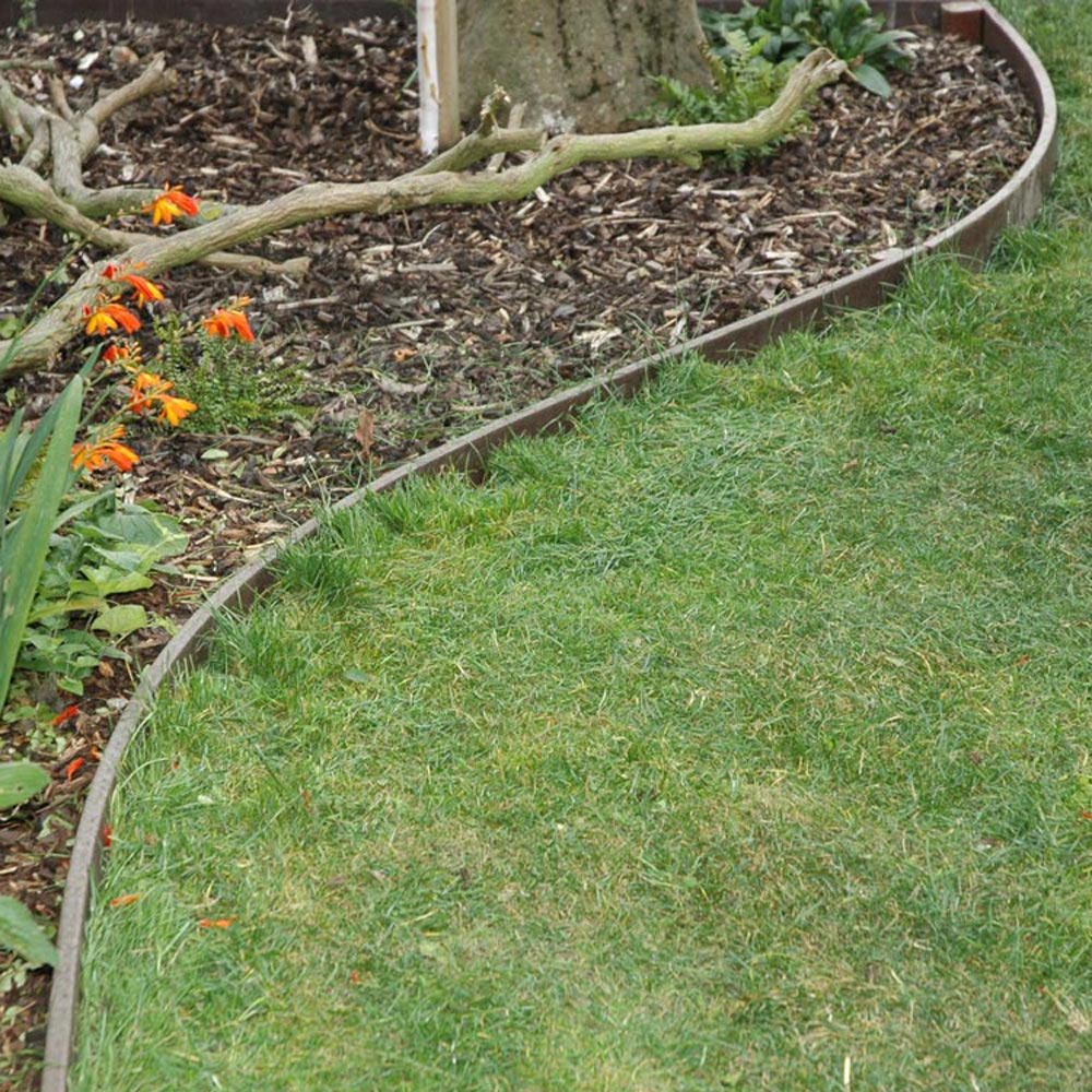 Recycled plastic wood lawn edging path edging filcris ltd for Cheap easy landscape edging