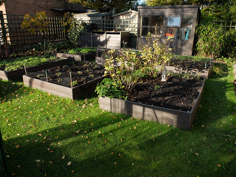 The raised beds need no treatments and will last for decades!