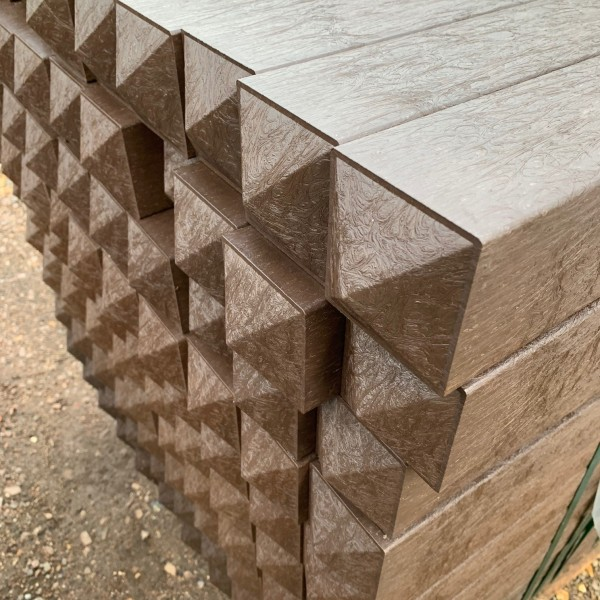 Square post Brown 80mm x 80mm x 1.5m Chamfered top